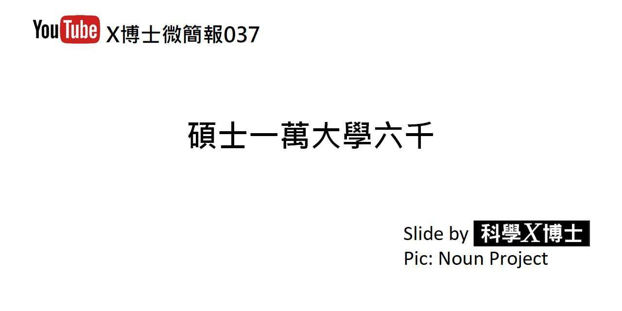 【X博士微簡報】037碩士一萬大學六千